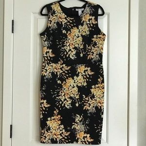 WHBM black and yellow floral sheath dress 🌻 NWOT
